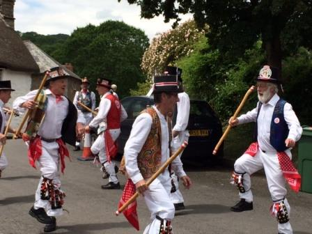Morris Dancers outside our Devon Holiday Home in Lustleigh on Dartmoor