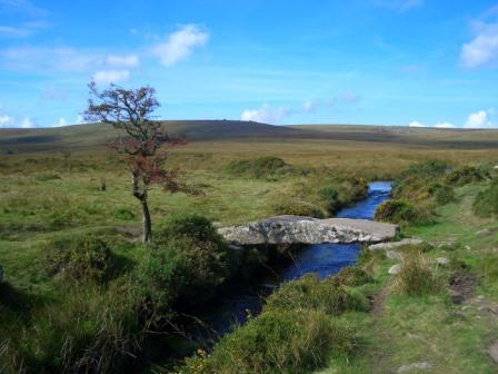 Dartmoor clapper bridge over Walla Brook