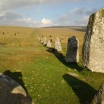Stone row at Down Tor on Dartmoor, Devon