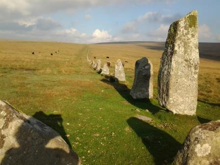 Down Tor Stone Row on Dartmoor close to Burrator Reservoir