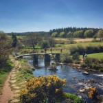 The famous dartmoor clapper bridge at Postbridge just 12 miles from the holiday rental