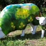 Painted Sheep near the thatched holiday cottage in Lustleigh on Dartmoor