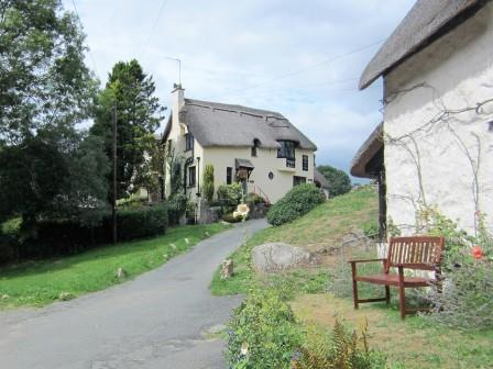 View of Primrose Tea Rooms from the garden of our thatched holiday cottage in Lustleigh