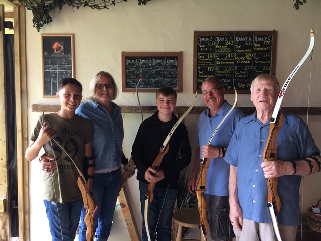 Team Mullen at Dragon Archery on a day out from our holiday rental on Dartmoor