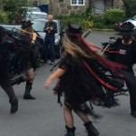 Beltane Border Morris in full swing in Lustleigh outside our Dartmoor holiday home