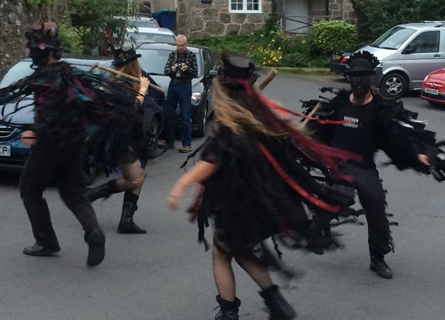 Beltane Border Morris in full swing in Lustleigh outside our Dartmoor holiday home