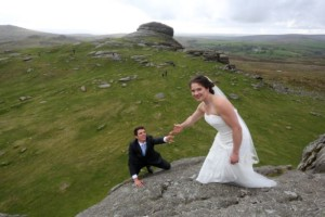 Newlyweds climb Haytor 5 miles from our Dartmoor holiday cottage