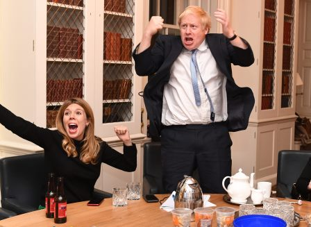 Boris Johnson celebrating the good news that Three Pound Cottage, the Dartmoor Holiday Home in Lustleigh has reopened