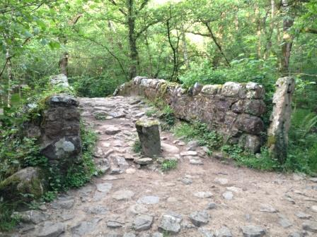 Medieval pack horse bridge in Hisley Woods close to the Dartmoor Holiday Cottage