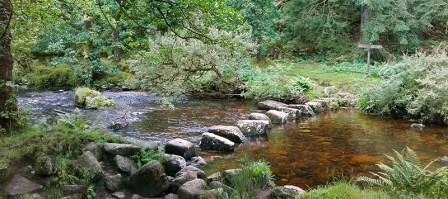 Medieval Stepping Stones crossing a tributary of the East Dart river on Dartmoor