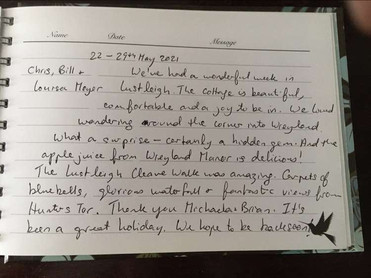 Review from first time guests saying what a wonderful week they had and how beautiful and comfortable Three Pound Cottage is