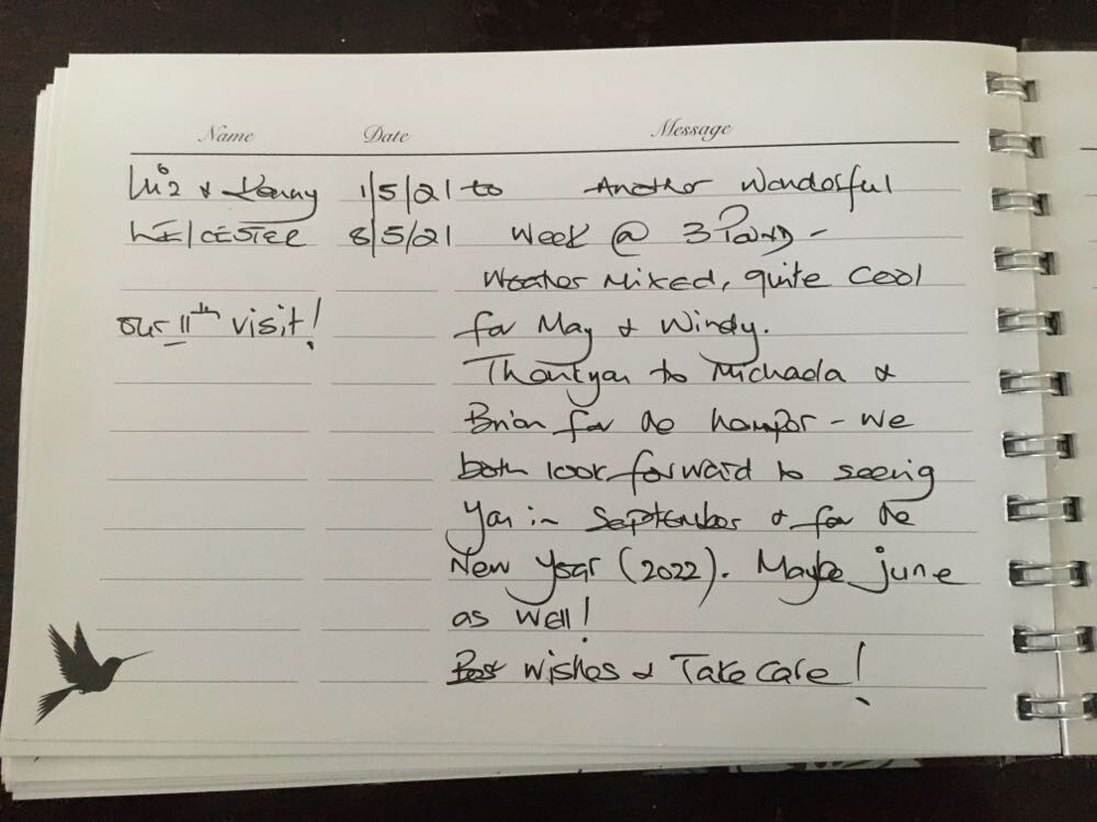 Review from regular guests thanking hosts for another wonderful stay at Three Pound Cottage