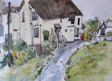 Artists painting of Primrose Tea Rooms and view from the main bedroom of Three Pound Cottage